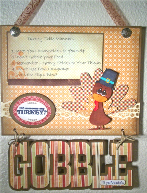 GOBBLE  Laura Love - Thanksgiving day greetings and Turkey shaped card and Gobble word shaped card