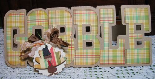Gobble  Lori Hairston - Turkey shaped card and gobble word shaped card