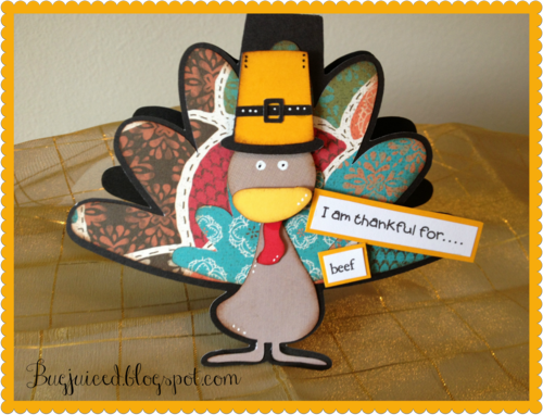 I am thankful for   Debbe Crowder - Turkey shaped card