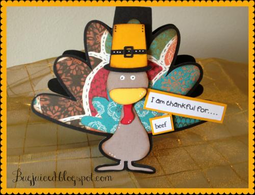 I am thankful for   Debbe Crowder - Turkey shaped card