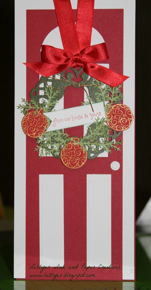 From our house to yours  Lezlye Lauterbaugh - Front door shaped card