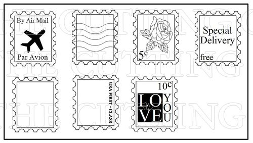 The Cutting Cafe Postage Stamp Shaped Card Template  Cutting File