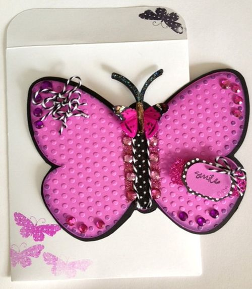 Smile  Misty Morgan - Butterfly shaped card