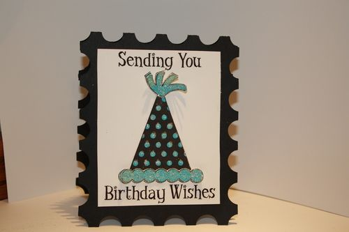 Birthday wishes - Tanya Alley - Postage stamp shaped card