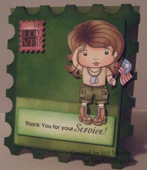 Thank you for your service  - Jeri Moody - Postage stamp shaped card