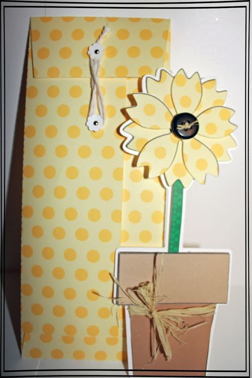 Tall flower - Tanya Alley - Tall flower shaped card and string and button envelope