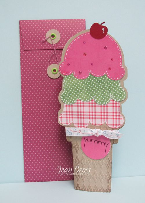 Yummy - Jean Cross - Tall ice cream shaped card and string and button envelope