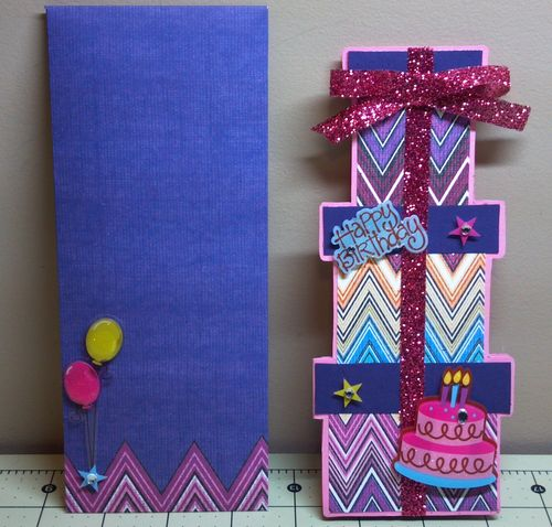 Happy Birthday - Audrey Long - Tall present shaped card and string and button envelope