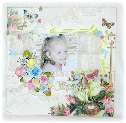 Little girl layout - Valerie Allard - Window sill shaped card and assorted banners templates