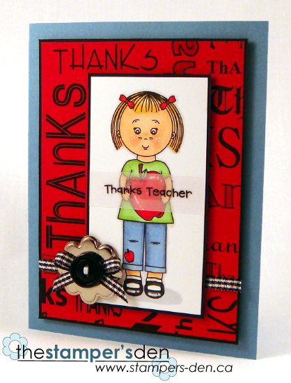 Thanks Teacher - Karrie Snider - Mikala Ann holding a apple and Thanks background