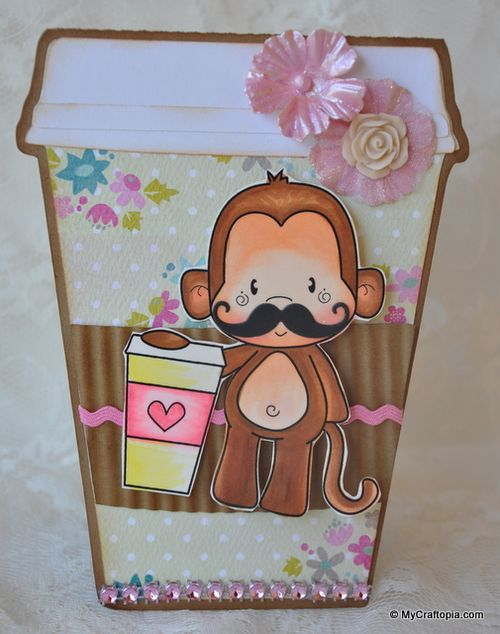 MONKEY - Leslie Foley - Coffee cup shaped card 2