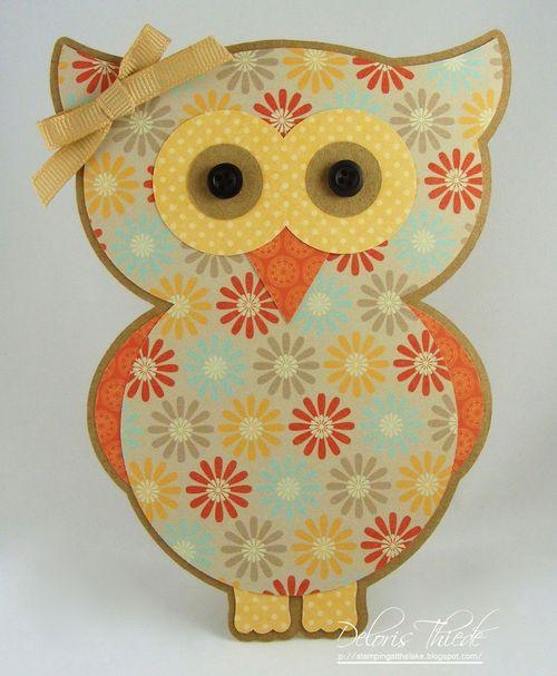 Owl - Deloris Thiede - Owl shaped card