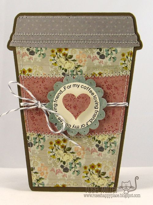 For my coffee loving friend - Rose Miller - Coffee cup shaped card 2