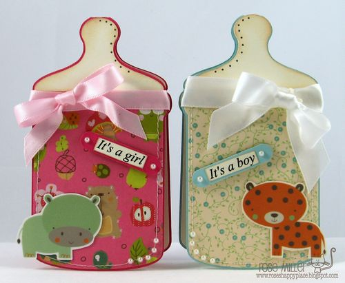 Baby bottle cards - Rose Miller - Baby Bottle shaped card 2