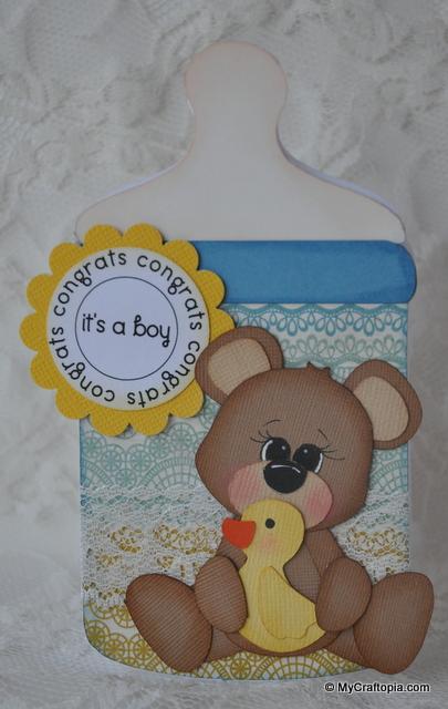 CONGRATS - Leslie Foley - Baby bottle shaped card 2