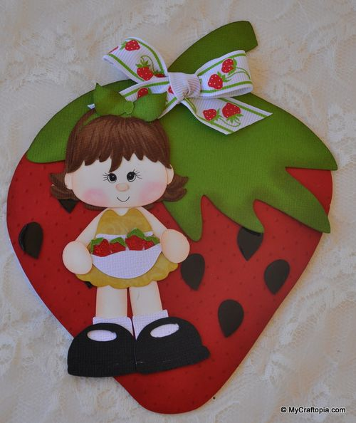 Strawberry girl - Leslie Foley - Strawberry shaped card
