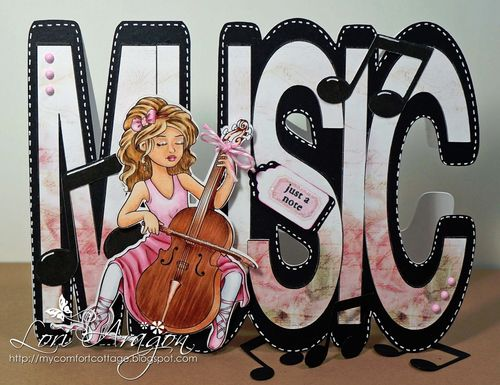 Just a note - Lori Aragon - Music word shaped card
