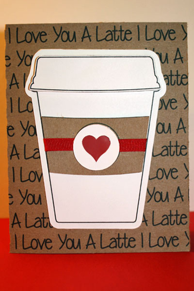 Love you a latte - Tanya Alley - Coffee cup shaped card 2