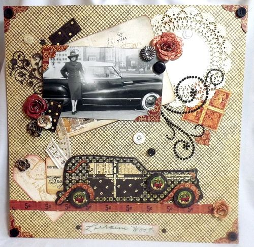 Classic car layout - Mary Ann Guth - Classic car shaped card