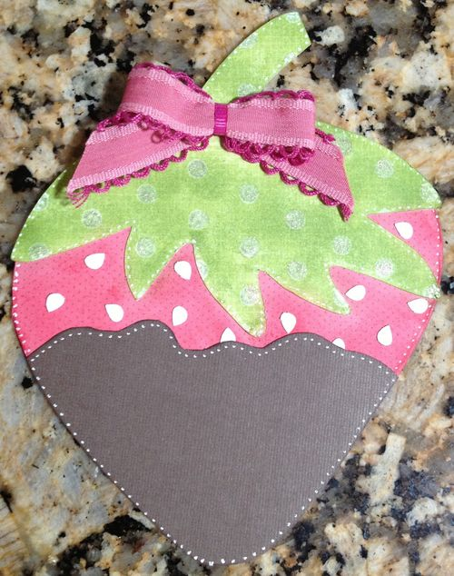 Strawberry card - Barbara Burgess - Strawberry shaped card