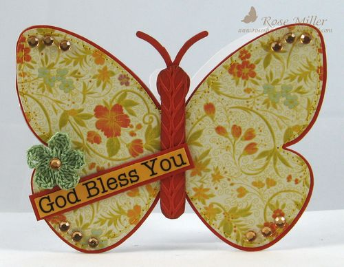 God Bless You - Rose Miller - Butterfly Shaped card