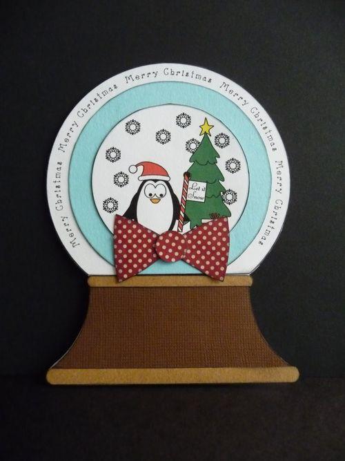 Merry Christmas - Jeri Thomas - Snowglobe shaped card