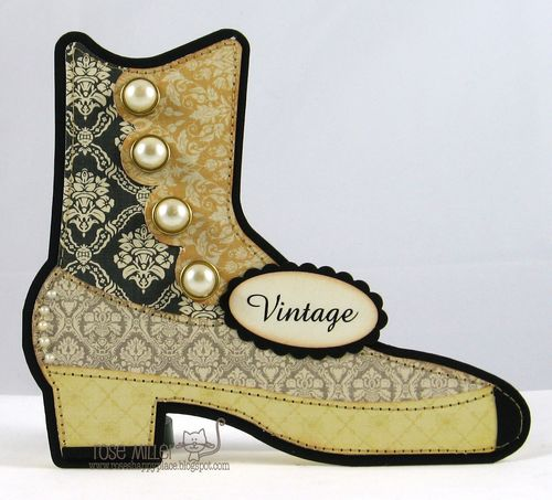 VINTAGE - Rose Miller - Vintage boot shaped card