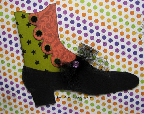 VINTAGE BOOT SHAPED CARD- Flowerdisco Agnes