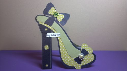 Happy birthday lady - Audrey Long - High Heel shoe shaped card