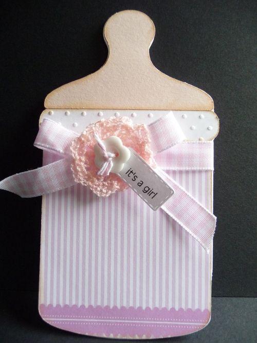 ITS A GIRL - Jeri Thomas - baby bottle shaped card 2