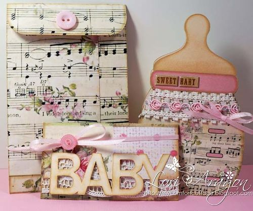 Sweet baby set - Lori Aragon - Baby bottle shaped card and Baby word gift card and money holder
