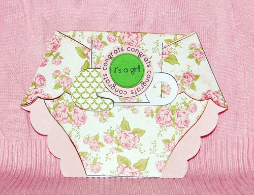 ITS A GIRL - Holly Hudspeth - Diaper shaped card