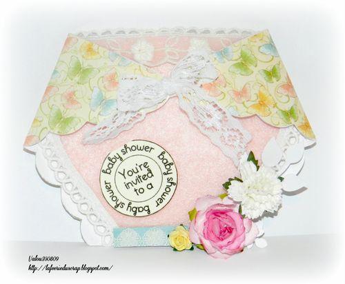 Baby shower- Valerie Allard - Diaper shaped card