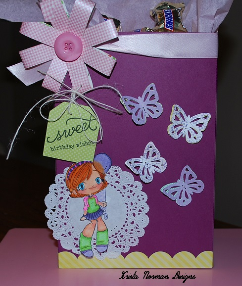 Sweet birthday wishes - Krista Norman - Large gift bag and loopy loopy bow flower