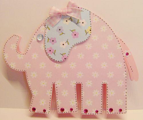 Elephant shaped card - Rhonda Zmikly