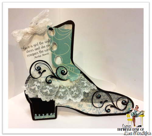 Vintage Boot shaped card - Lisa Minckler