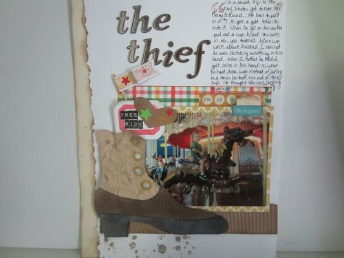The thief - Karyn Halter - vintage boot shaped card