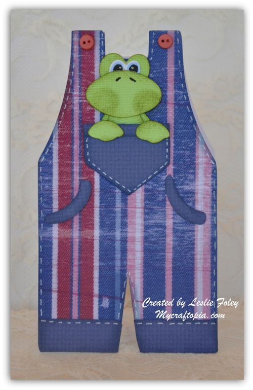 Overalls shaped card - Leslie Foley
