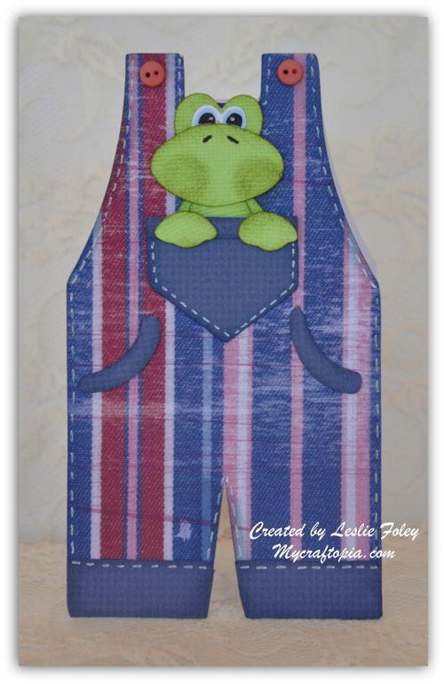 Overalls shaped card - Leslie Foley