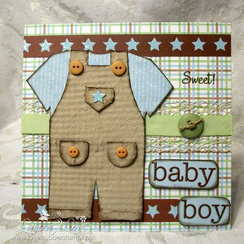 Sweet baby boy - Laura Love - Overalls shaped card