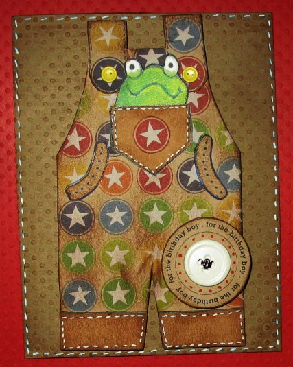 Overalls shaped card - Cathryn Holzschuher