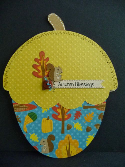 Autumn Blessings - Jeri Thomas - Acorn shaped card