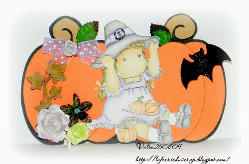 Pumpkin trio shaped card - Valerie Allard
