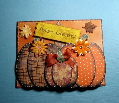 Autumn Greetings - Cathryn Holzschuher - Pumpkin trio shaped card