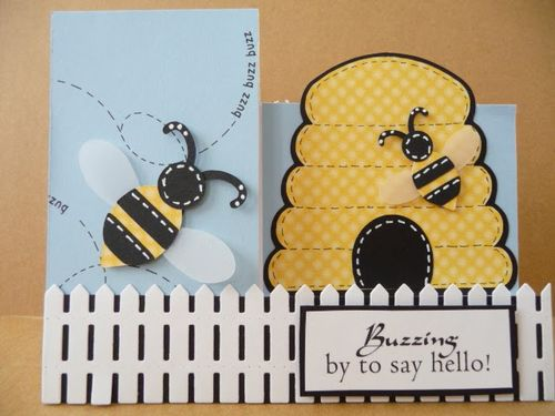 BUZZING.. - Jeri Thomas - Step cards and beehive shaped card