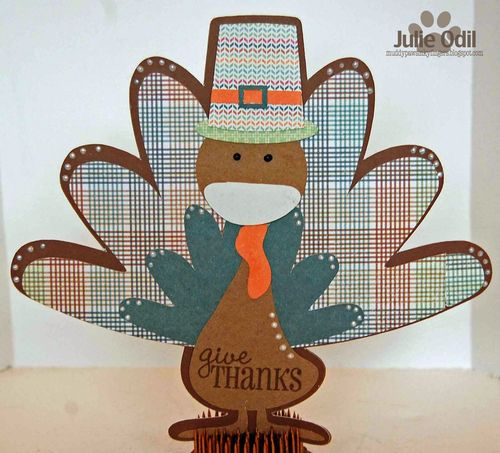 Give thanks - Turkey shaped card - Julie Odil