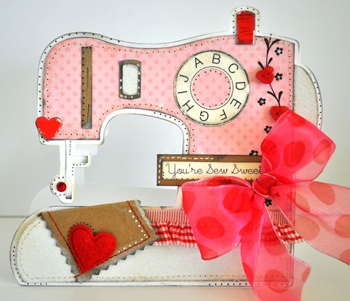 Sewing machine shaped card