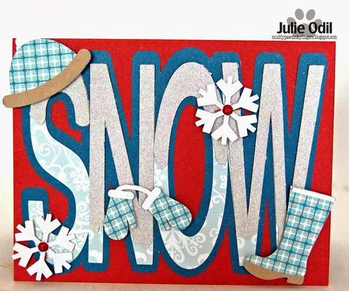Snow word shaped card - Julie Odil