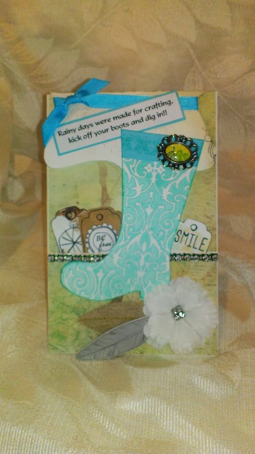 Rainboots shaped card - Chauntelle Lee