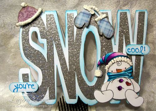 Snow word shaped card - Laura Love